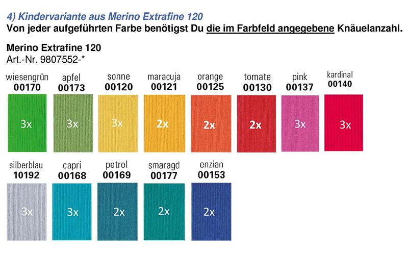 Farbzusammenstellung Merino Extrafine 120 in Kinderfarben für den mysterysquaresKAL