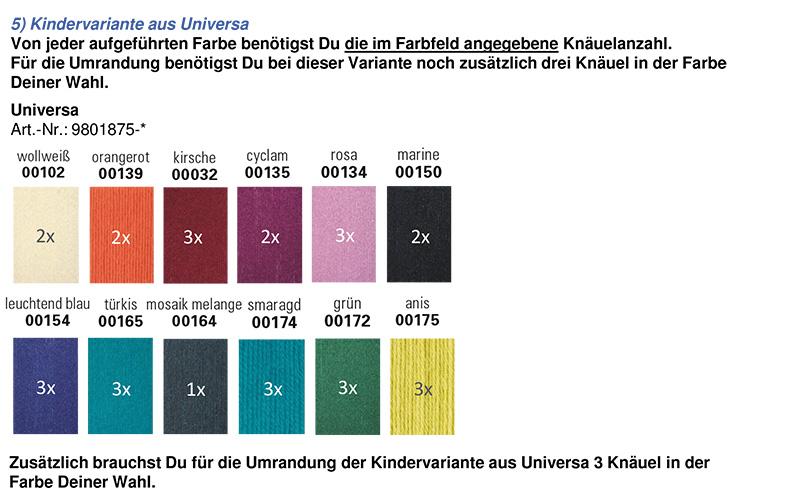 Farbzusammenstellung Universa in Kinderfarben für den mysterysquaresKAL