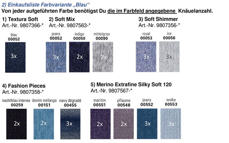 Farbzusammenstellung Blau für den mysterysquaresKAL