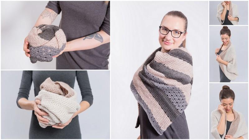 Variante 2 des Seelenwärmers und des Dreieckstuches: Häkle Dir Dein persönliches Modell aus den mix&knit Garnen!