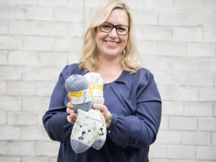 Sandra from Meine fabelhafte Welt showing her children's socks