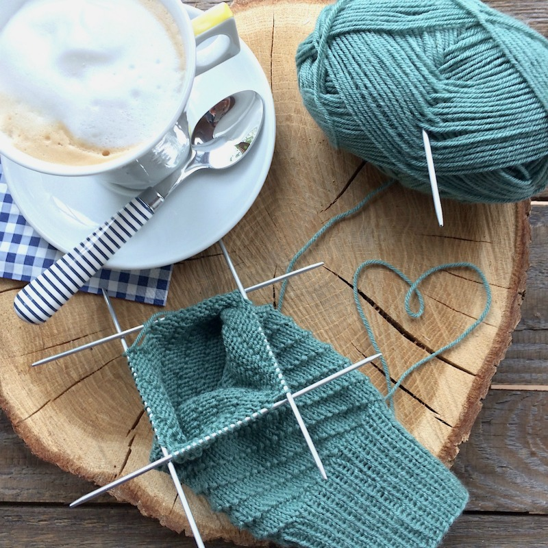 knitting yoga socks, drinking coffee - pure relaxation